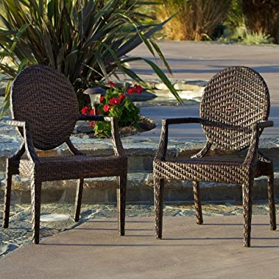 Townsgate Wicker Outdoor Chair (Set of 2) - Set of 2 chairs Multi colored brown PE wicker PE wicker over and iron frame - patio-furniture, patio-chairs, patio - 61ORKDgFITL. SS400  -