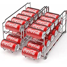 2 Pack - SimpleHouseware Stackable Front Loading Beverage Can Dispenser Rack, Chrome