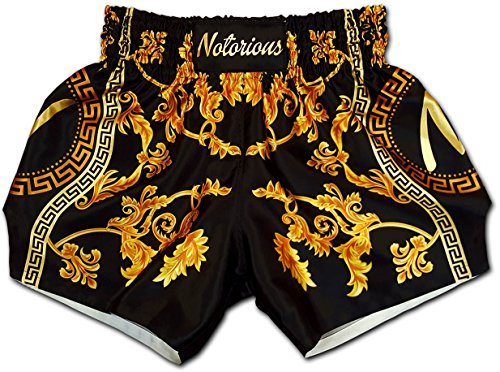 NOTORIOUS Muay Thai Boxing Shorts Trunks Retro Vintage Baroque Deluxe เวอซาเช่ Premium Satin Quality Black Gold Men Women Unisex (S)