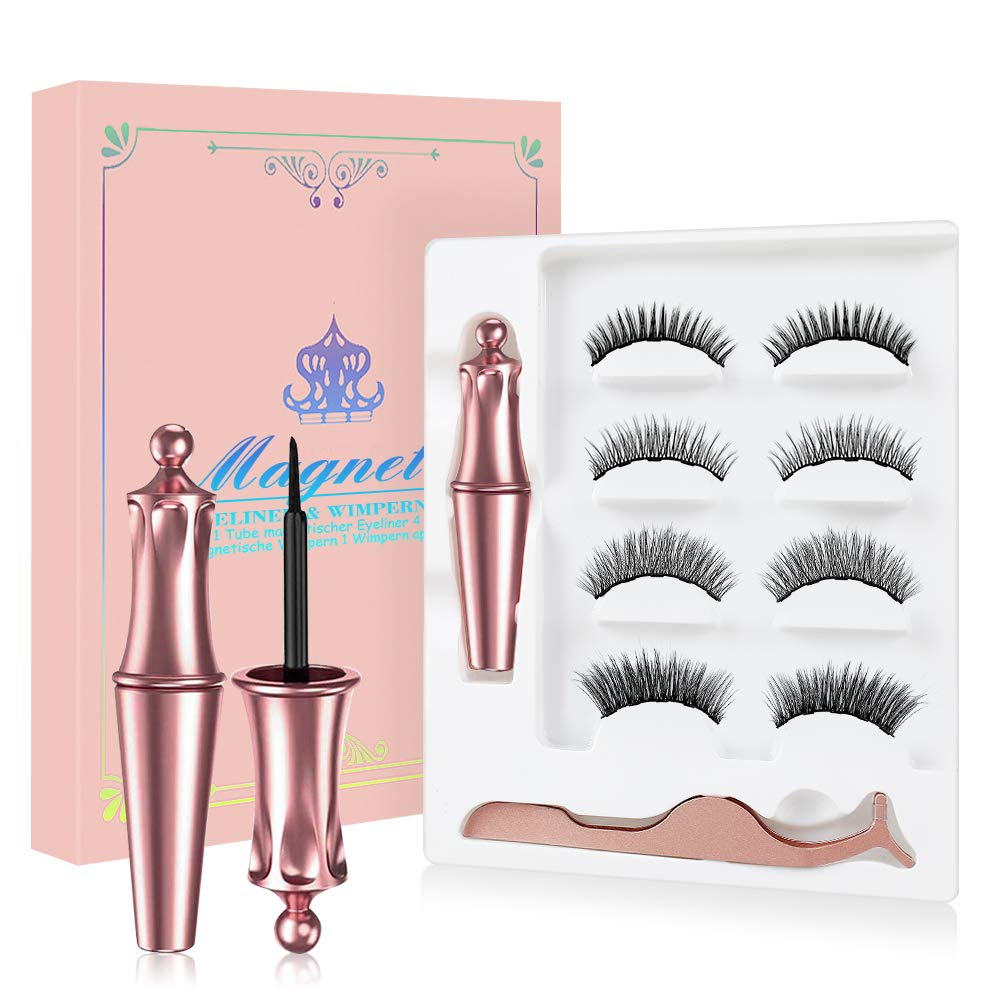 Magnetic Eyelashes with Eyeliner - 4 Pairs Reusable 3D 5D Magnetic Lashes Set with 2 Updated Magnetic Eyeliner and Tweezer with Natural Look & Party Style False lashes, No Glue Needed