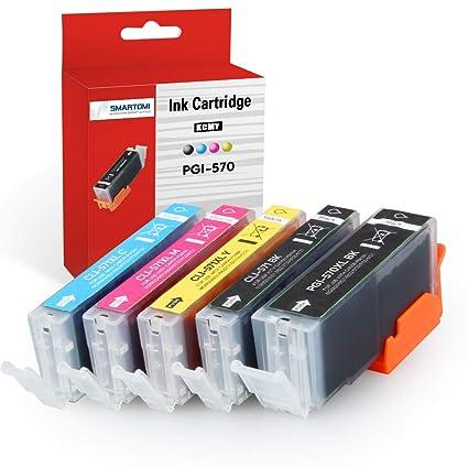 SMARTOMI - 5 cartuchos de tinta PGI-570 XL negro y CLI-571 XL tricolor compatibles con impresoras Canon Pixma series MG5750, MG5751, MG5752, MG5753, ...