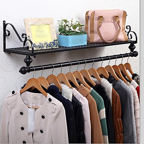 Iron clothing racks / clothing store shelf / display stand / wall shelf rack / wall hanging on the wall hangers / coat racks / clothes drying clothes rack ( Color : Black , Size : 8028cm ) by Hook up