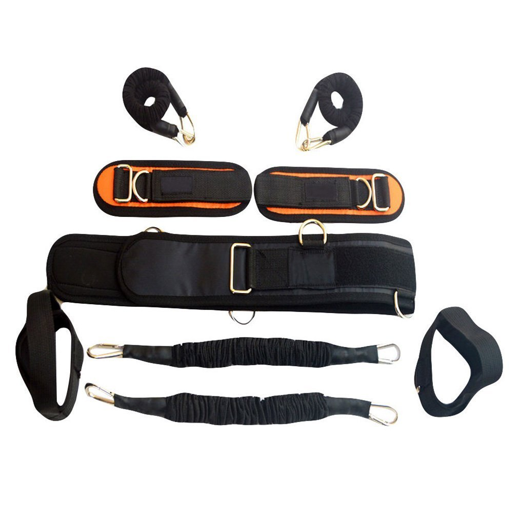 Ranbo heavy exercise band fitness bands resistance training bands with harness Leg strength and agility training strap system for football basketball taekwondo yoga boxing equipment (black)