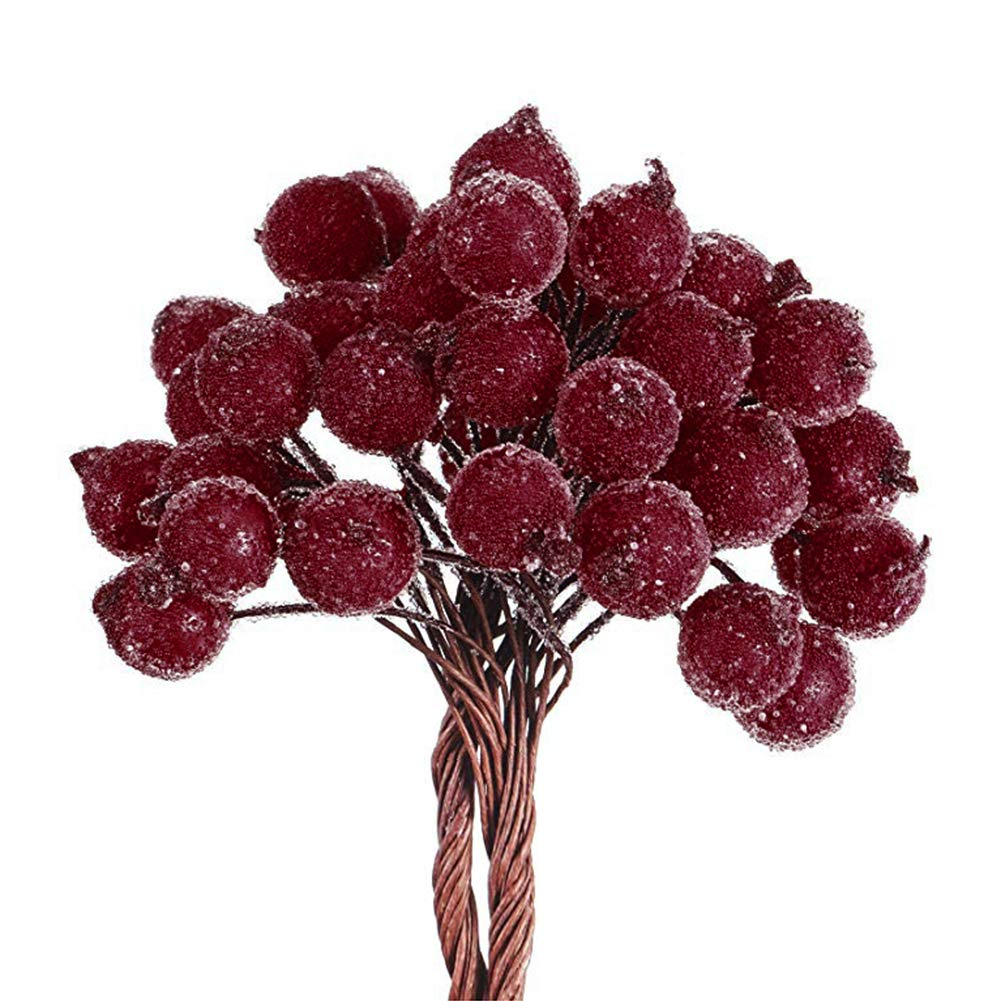 Set of 40 Red Berry Picks Artificial Holly Christmas Berries on Wire Stems Mini Xmas Fruit Berry