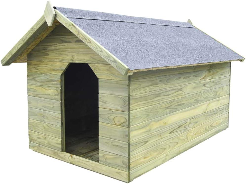 Tidyard Casa de Perros jardín Caseta de Exterior para Perros tejado Abierto Madera Pino impregnada FSC