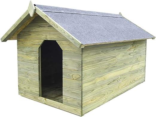 Tidyard Casa de Perros jardín Caseta de Exterior para Perros tejado Abierto Madera Pino impregnada FSC: Amazon.es: Hogar