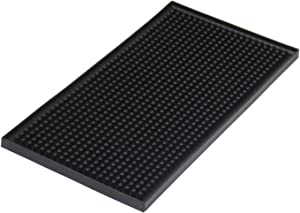 "Yisharry li Bar Mat 6"" x 12"" Kitchen Square Rubber Service Spill Mat PVC Black KTV Bar Drying Dish Mats"