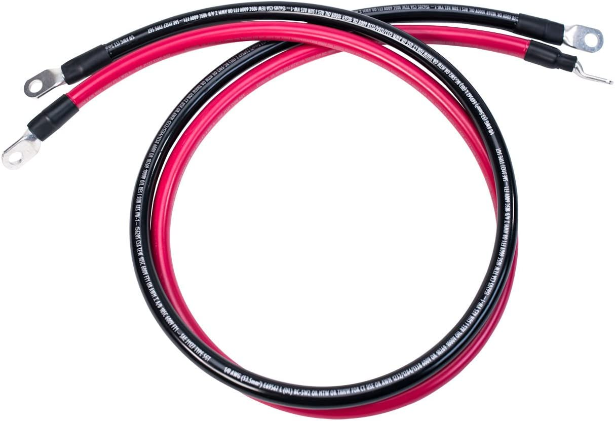 Spartan Power 4 AWG 5 Foot Battery Cable Set Four Gauge Wire Made in America 5 FT with 5//16 Ring Terminals