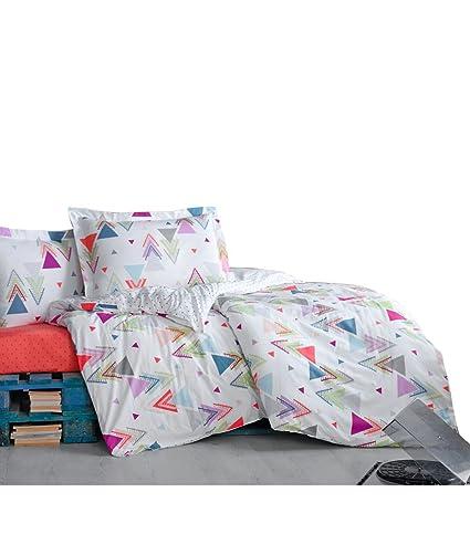 TI Home Flip Flop Geometric Duvet Cover Set, 100% Cotton Ranforce, 4-