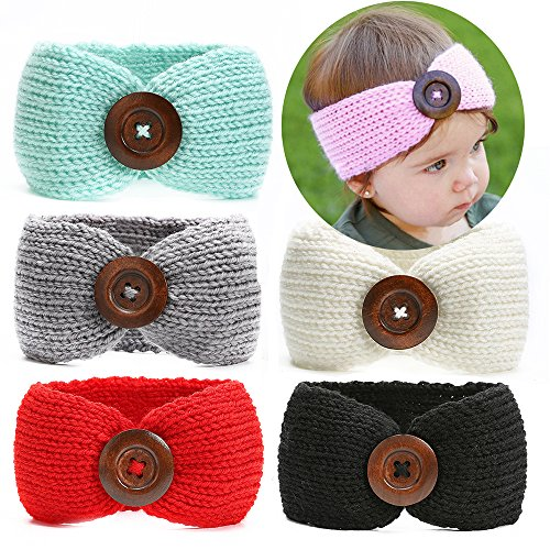 Ranipobo Pack of 6 Baby Girl Knit Crochet Turban Headband Warm Headbands for Newborn Hair Head Bowknot (Winter Headbands For Girls)