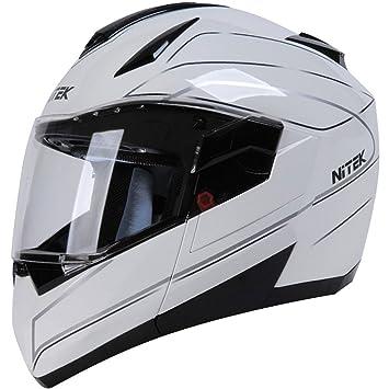 Nitek tigre diamante calle casco de moto, color blanco