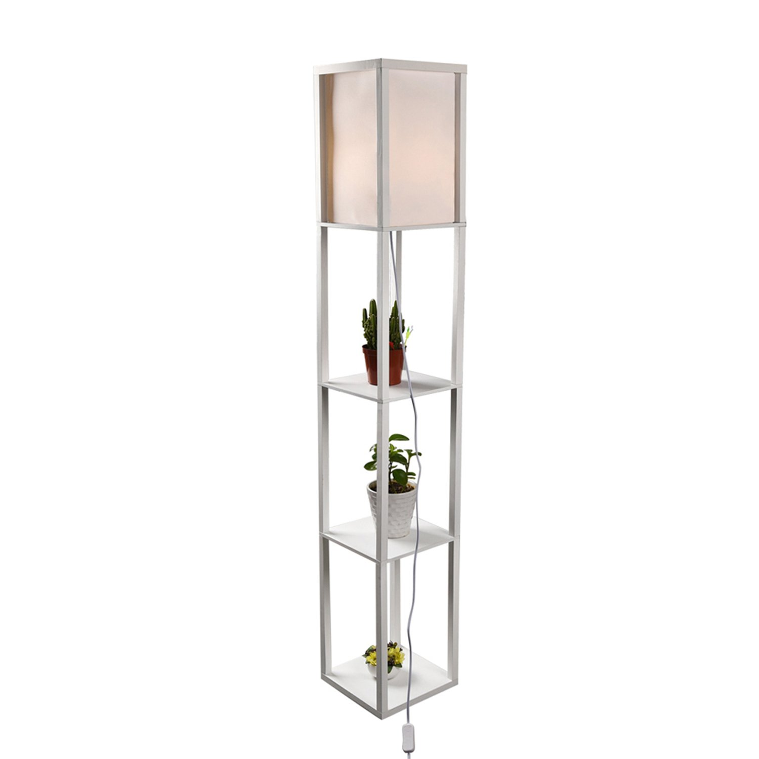 Shelf Floor Lamp with Linen Shade, UL Listed, Wooden Frame, 63 Inch Height, Switch on/off, Etagere Organizer Shelf, Black (White)