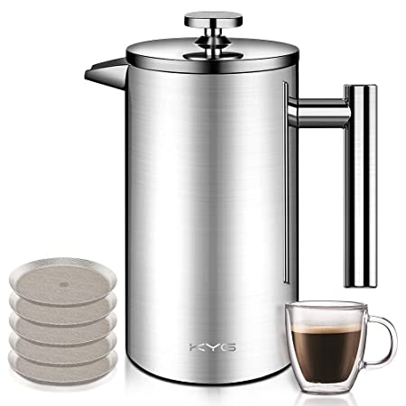 KYG - Cafetera de Acero Inoxidable con Sistema French Press ...