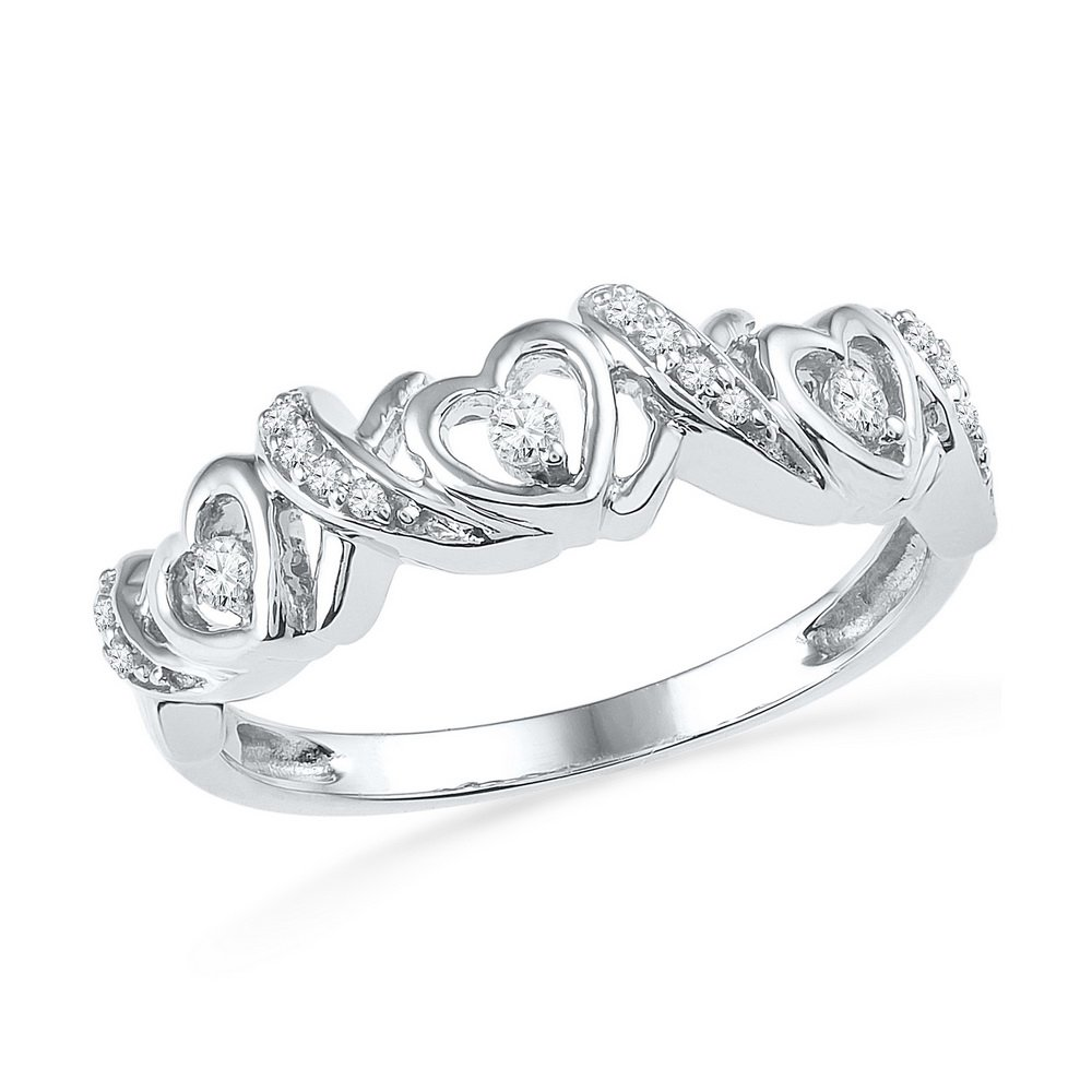 10kt White Gold Womens Round Diamond Heart Love Band Ring 1/8 Cttw (I2-I3 clarity; J-K color)