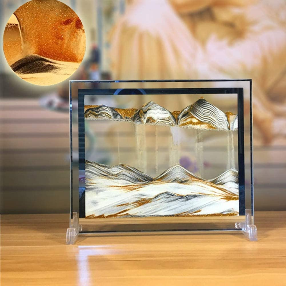 Yuanlar Moving Sand Art Picture Sandscapes Desktop Art Toys Christmas Birthday Children Gifts (Gold)