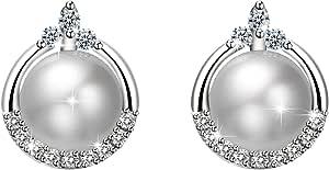 Amilril Pendientes Perlas Mujer Plata de Ley 925 Aretes, Moda Joyería Circonita Cúbica, Regalo de Día de la Madre