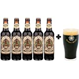 5 Pack de Cervezas Inglesas Organic Chocolate Stout de 355 ml + Vaso Original Samuel Smith 250 ml.