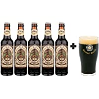 5 Pack de Cervezas Inglesas Organic Chocolate Stout de 355 ml + Vaso Original Samuel Smith 250 ml.