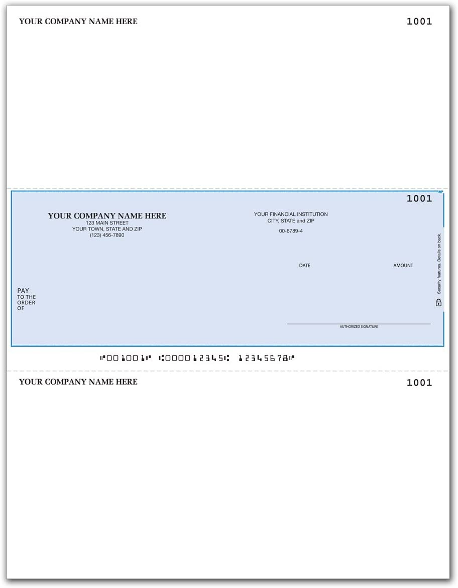 CheckSimple Laser Business Checks, Middle Format for MAS & Businessworks Software (100 Qty) - Custom : Office Products