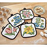 Herrschners Spring Stained Glass Pot Holders Stamped Cross-Stitch