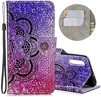 EuCase Funda para Samsung A50 Libro Flip PU Cuero Carcasa Samsung A50 Antigolpes Wallet Cierre Magnético Función de Soporte Protector Bumper Case para Caja Tapa Carcasa Mandala: Amazon.es: Electrónica