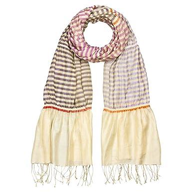 79d882380b0d0 Japanwelt Seidenschal gestreift Material-Mix 60% Seide 35% Baumwolle 5%  Wolle 70x180cm Lila Natur Knitter-Schal  Amazon.de  Bekleidung