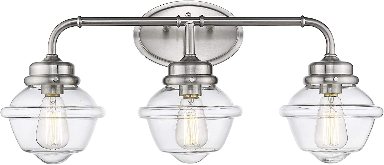 Odeums 3- Lights Bathroom Vanity Lights Fixture, Industrial Wall Sconce Lighting Fixture in Brushed Nickel Finish with Clear Glass