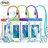 """Universal Waterproof Case, Amever 4 Pack CellPhone Dry Bag Pouch Waterproof, for iPhone 7, 7 Plus, 6S 6,6S Plus, 5S, Samsung Galaxy Phone S8, S7, S6, Note 5, 4 HTC LG Sony Nokia Motorola up to 6.0"""""""
