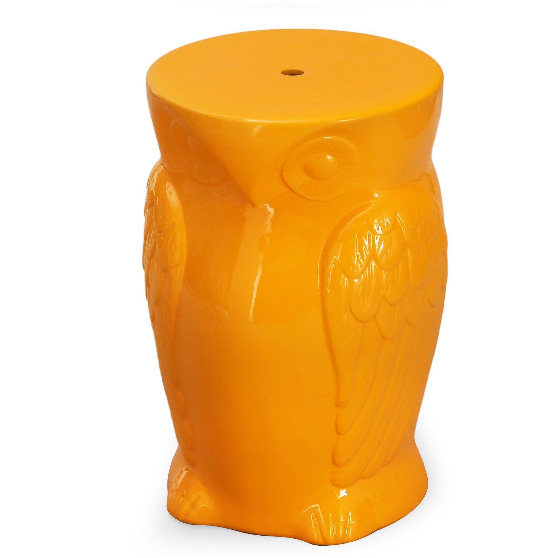 Home's Art Garden Ceramic Furniture with Wise Orange Owl Round (Orange)