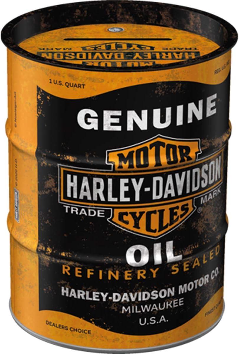 Nostalgic-Art Retro /Ölfass-Spardose Harley-Davidson Vintage Sparb/üchse Metall-Sparschwein Geschenk-Idee f/ür Motorrad-Fans 9,3 x 11,7cm