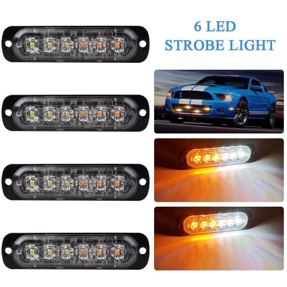 4x Amber 6 LED Car Truck Emergency Beacon Lights Hazard Flash Strobe Bar Warning