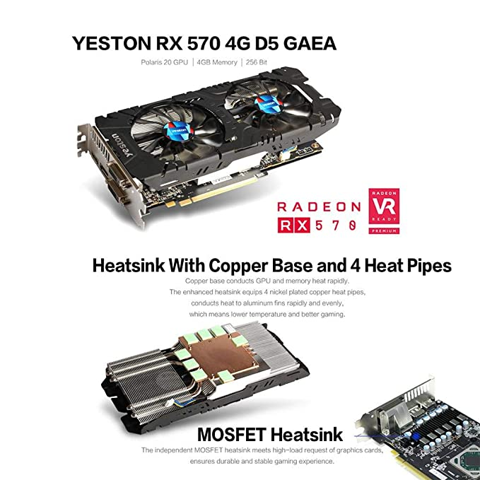 Amazon.com: Alloet Yeston RX570 256 bit GDDR5 PCI-E 3.0 ...