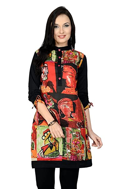 Pannkh Women's Red Cotton Straight Fit Picasso Printed kurta Women's Kurtas & Kurtis at amazon