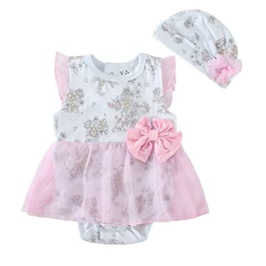 be779f2a234 Amazon.com  Mud Kingdom Baby Girl Romper With Hat Set  Clothing