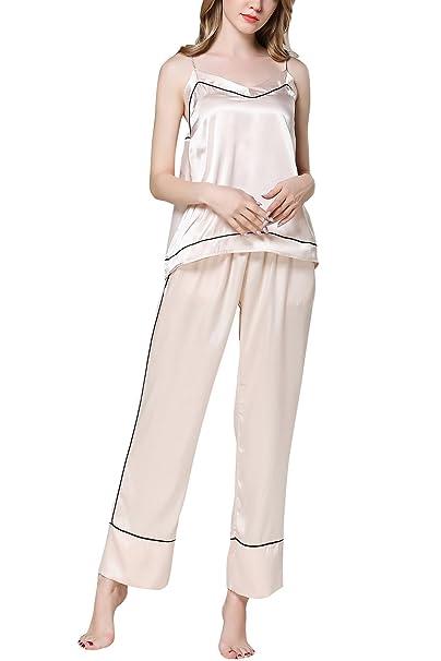 Dolamen Pijamas Camisón para Mujer, 2018 Mujer Largo Camisones Raso Satin Pijamas, lencería Spaghetti