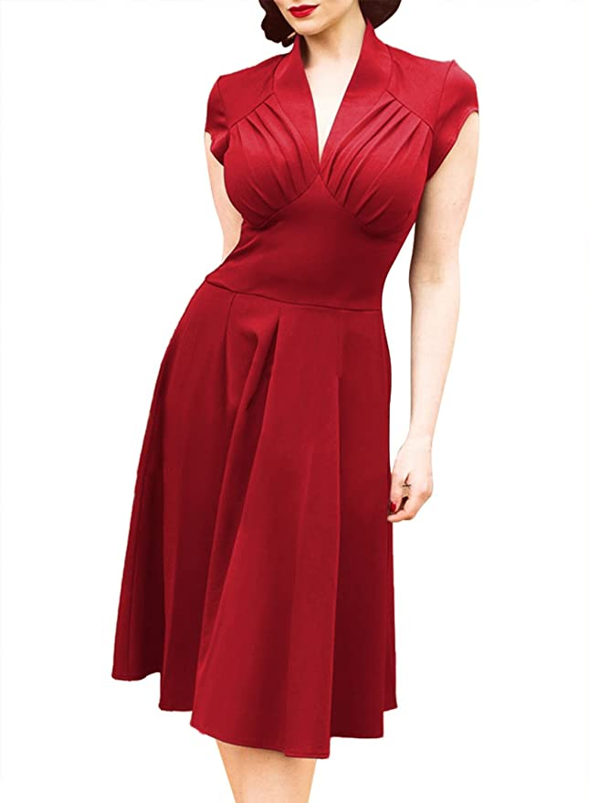 Swing Dance Clothing You Can Dance In Arhyyie Womens 1940s Vintage Rockabilly Ball Gown Flared Dress Swing Skaters $29.99 AT vintagedancer.com