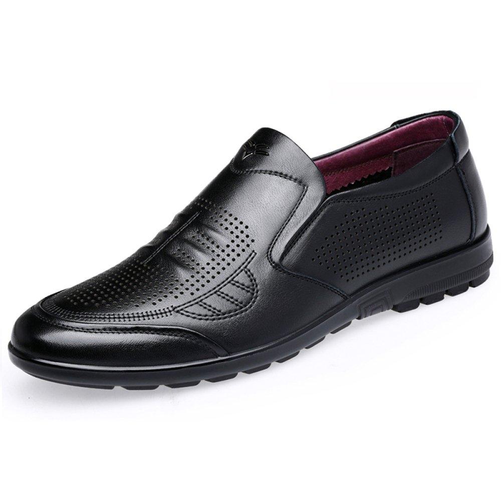 Zapatos De Cuero Negro De Los Hombres Sandalias De Verano De Negocios Huecos Casuales Zapatos De Boda,Black-43=265mm 43=265mm|Black