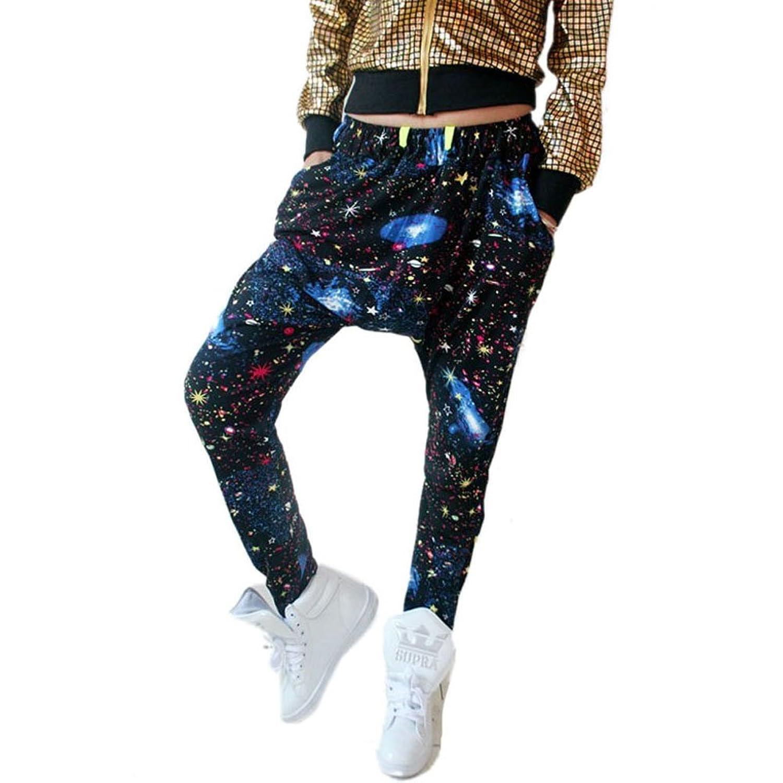 Comemall Women Girls Stars Sky Hip-hop Harem Pants Big Crotch Tie-dye Trouser