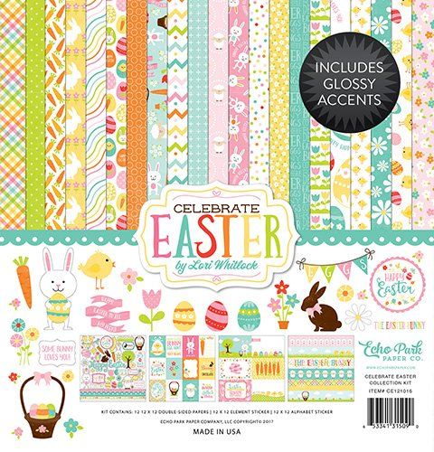 12' Scrapbooking Paper (Echo Park Paper Company CE121016 Celebrate Easter Collection Kit)