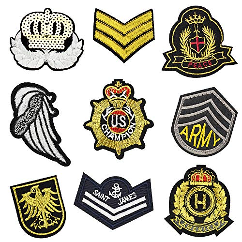 Cool Embroidered Badge Patches Iron on Clothes Jeans Jackets Backpacks (9 Pcs/Pack)