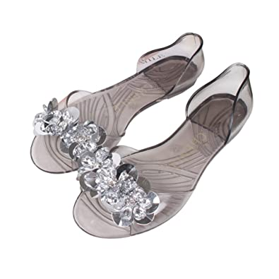 9d69e8ea7 Sparkly Bling Diamond Jelly Flats Sandals for Women Transparent Fashion  Peep Toe Beach Slides Shoes Black