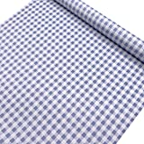 SimpleLife4U Mediterranean Style Contact Paper Blue-White Gingham Countertop Door Sticker Shelf Liner 17.7inch by 9.8 Feet