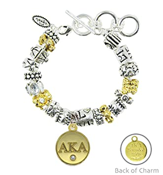 a4d1715a0 Amazon.com: Navika Alpha Kappa Alpha Live Love AKA Mantra Charm Bracelet  Two tone with Gold Signature AKA Charm: Sports & Outdoors