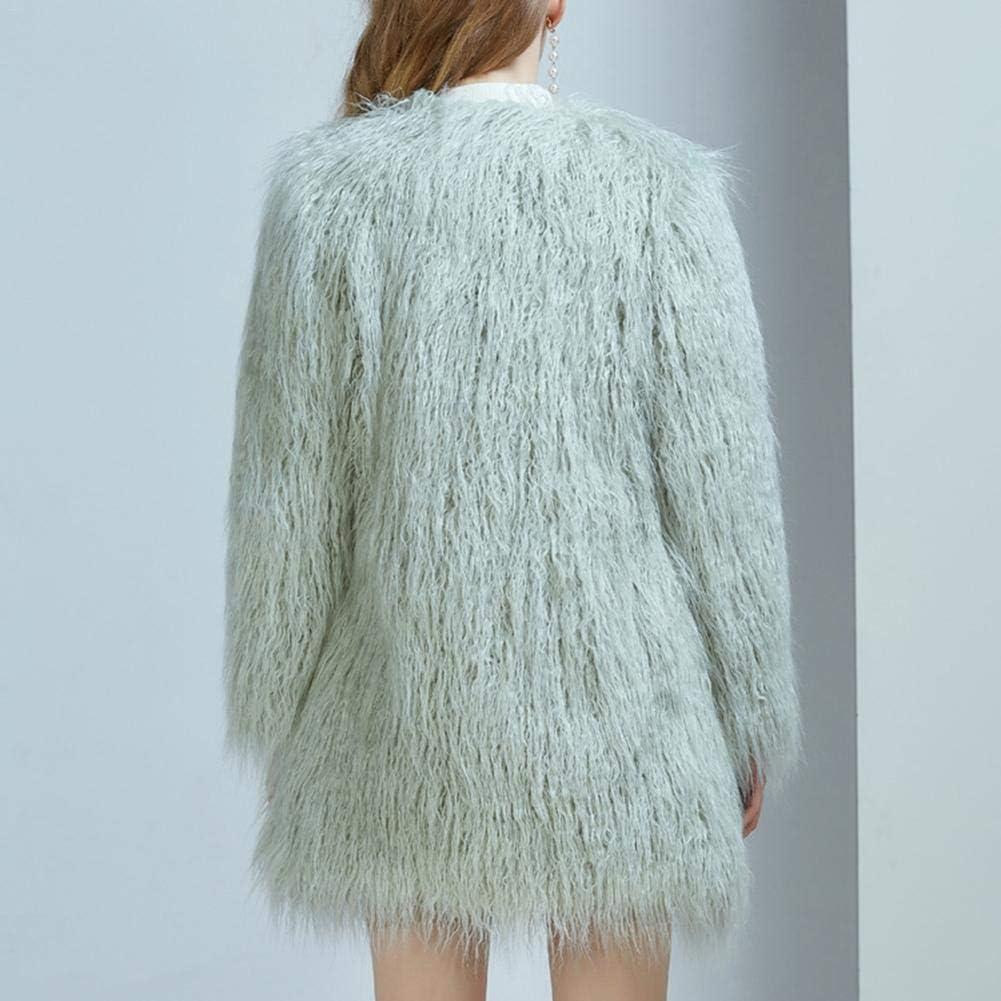 iBelly Faux Fur Coat Jacket Long Coat Furry Long Hair Thick Coat Female Autumn Winter