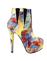 Show Story Multicoloured Abstract Painting Platform Stiletto Ankle Bootie Boot,LF80854