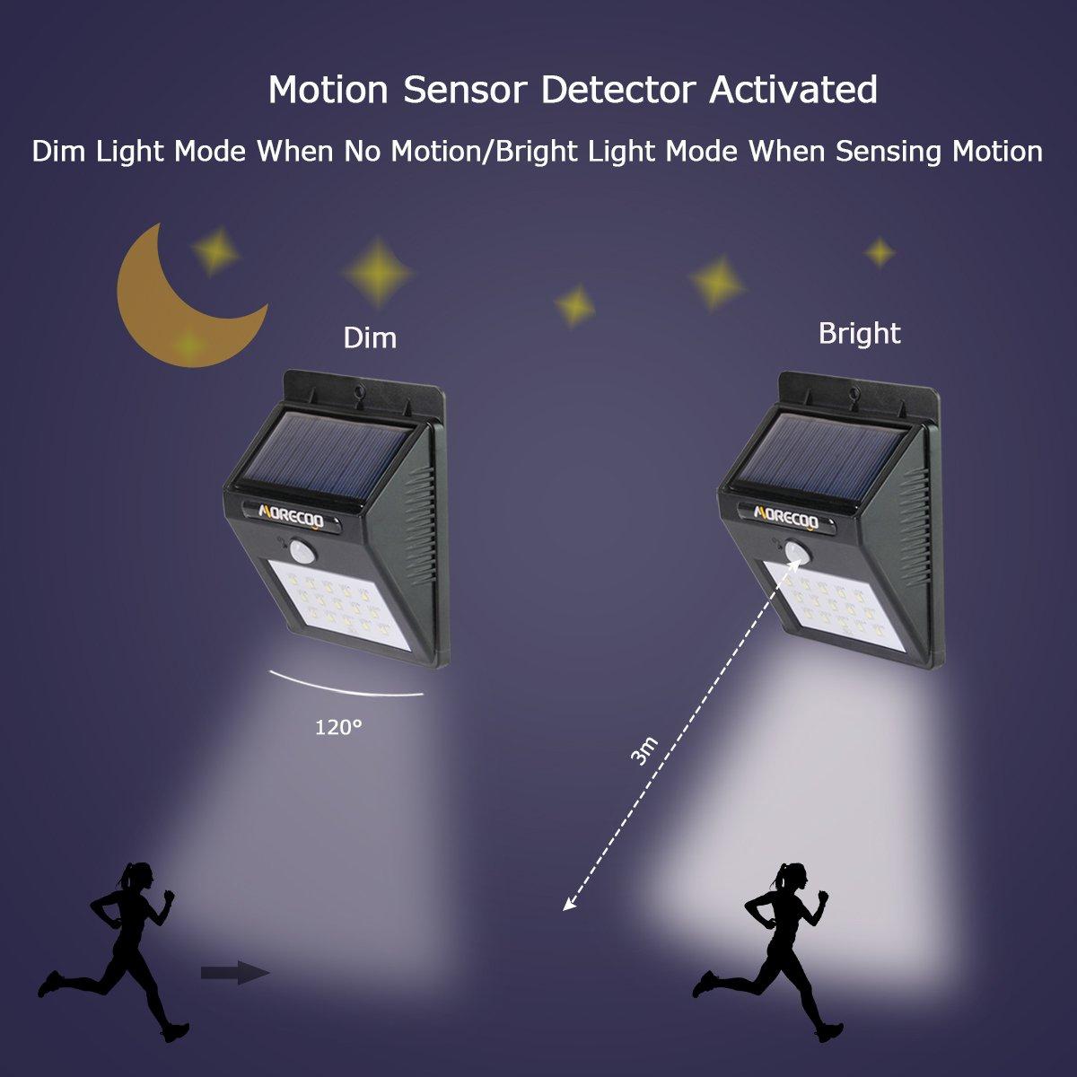 MORECOO 15 LED lámpara solar Impermeable con sensor movimiento para Jardín , pared exterior, Escaleras, camino, Terraza, seguridad de exterior: Amazon.es: ...