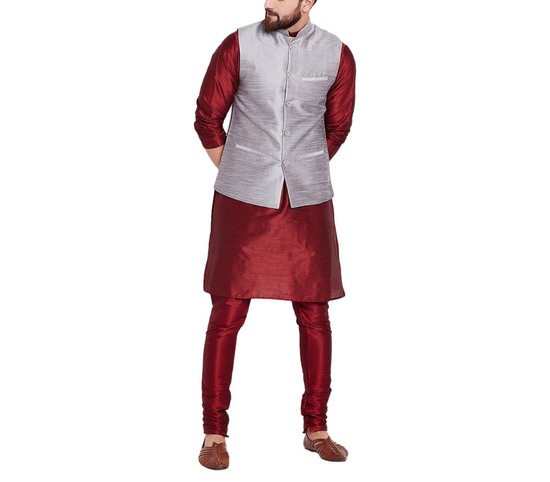 Sojanya Men's Dupion Silk Nehru Jacket X-Large Grey