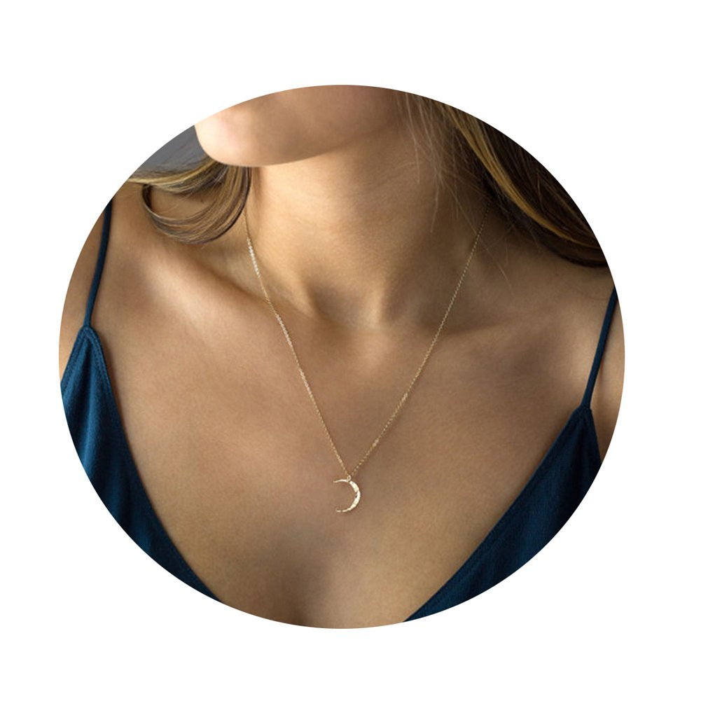 Befettly Moon Phase Choker Necklace 14k Gold Fill Dainty Simple Moon Pendant CK10-Moon