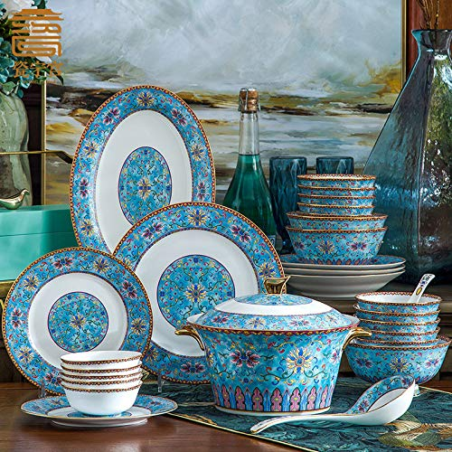 China Ning Palace high-grade bone china Jingdezhen cutlery set Chinese household dishes set enamel ceramic bowl plate