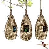 LAOZI 1pcs Casas de pájaros colibrí Casa de pájaros, para Colgar en el Exterior Hierba Natural Colgante Choza de pájaros…